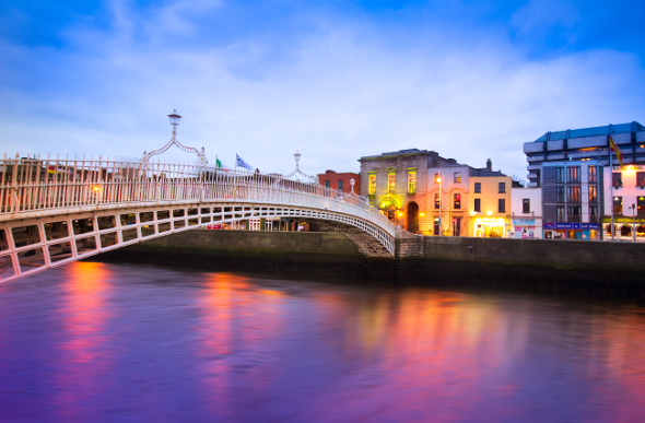 Dublin's Ha'penny Bridge, otherwise known as the Liffey Bridge.