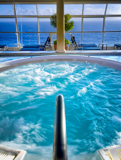 A cruise ship spa overlooking the ocean