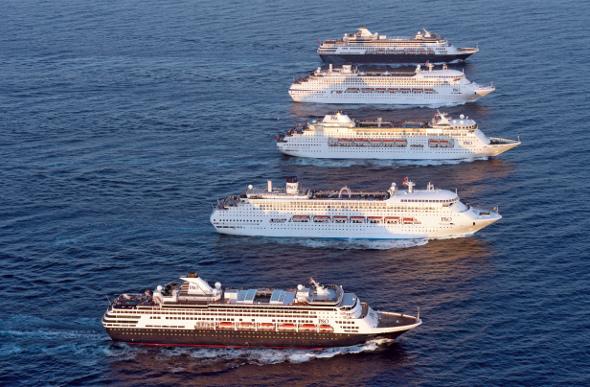 A fleet of five cruise ships