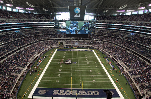 Inside at&t Stadium during a Dallas Cowboys game