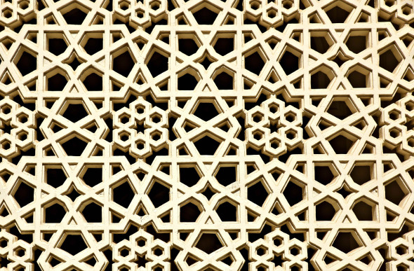 Intricate patterns on a building in Al-Fahidi