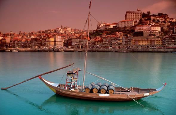 A rustic rabelo boat in Porto