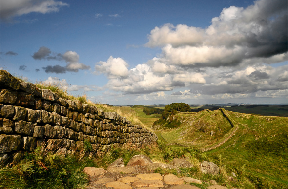 Hadrian's Wall snaking across English countryside