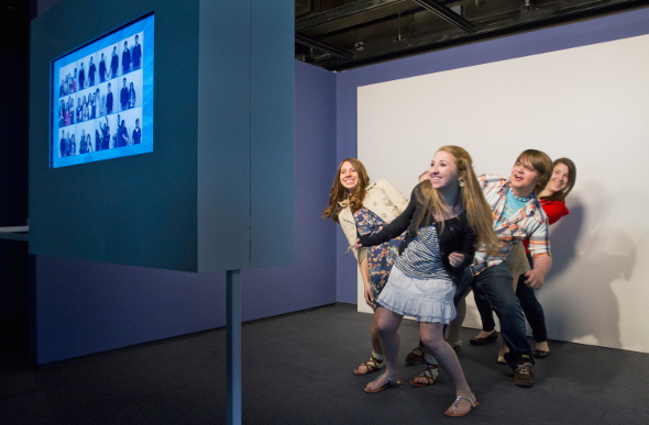Kids record themselves to make a flipbook. Picture: Brian Palmer/Museum of the Moving Image