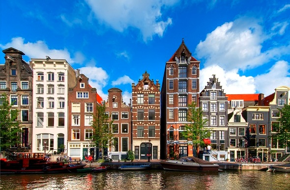 Historical buildings line the Herengracht Canal, Amsterdam, Netherlands.