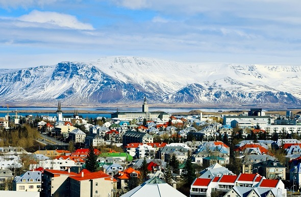 Reykjavik, Iceland as seen from the highest view point in the city center, with Mt. Esja in background.