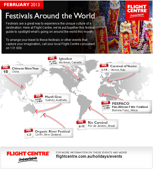 Flight Centre February Festivals