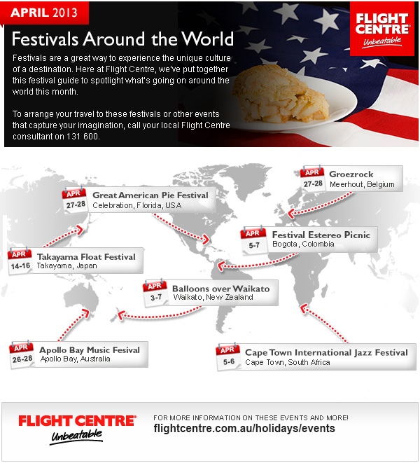 Flight Centre April Festivals