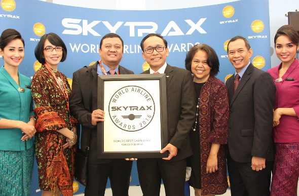 Garuda Indonesia officials with their World's Best Cabin Staff award from SKYTRAX. Picture: Garuda Indonesia