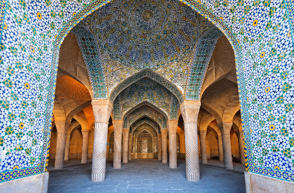 A tiled mosque in Iran.