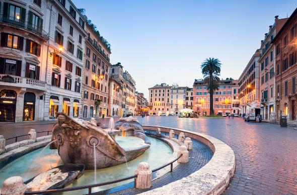 A street scene in Rome, Italy.