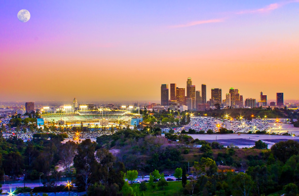 Los Angeles skyline during twilight