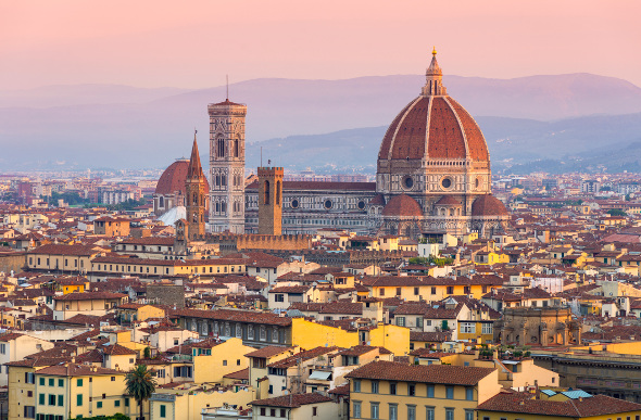 A view over the rooftops of Florence, Italy.
