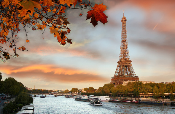 The Eiffel Tower and the Seine in Paris, France.