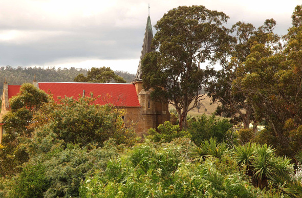Church above the trees in Richmond, Tasmania