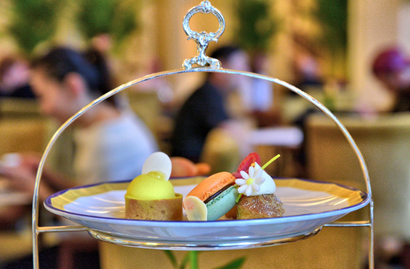 Delectable snacks arrived on tiered trays at the Peninsula Hotel