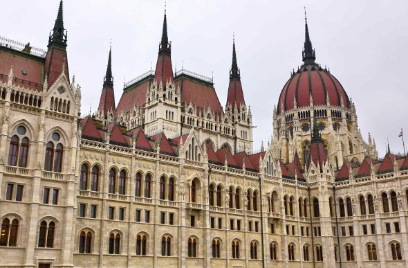 The striking Gothic Revival architecture of the Hungarian Parliament Building