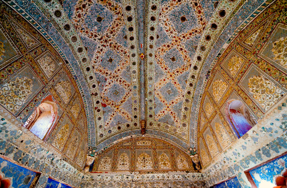 Colourful ceiling in India