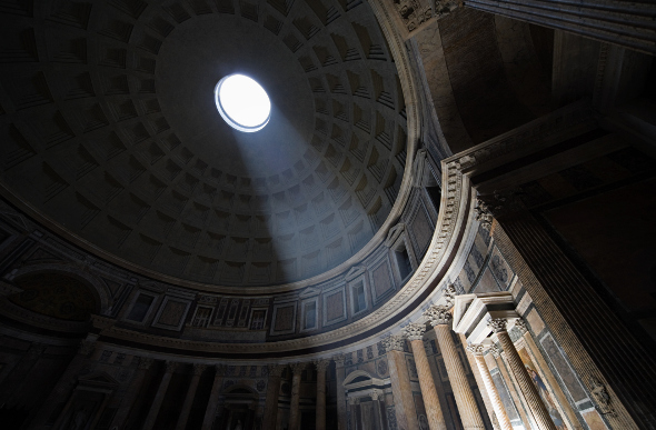 The Pantheon's ingenious ceiling design
