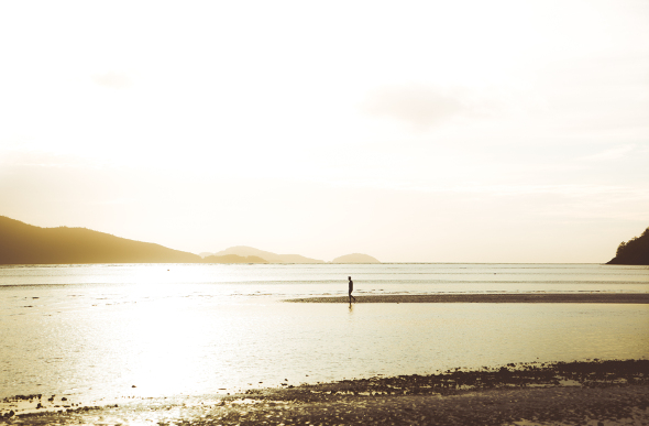 Instagrammer Jason Charles Hills wanders along Catseye Beach in the golden morning light.