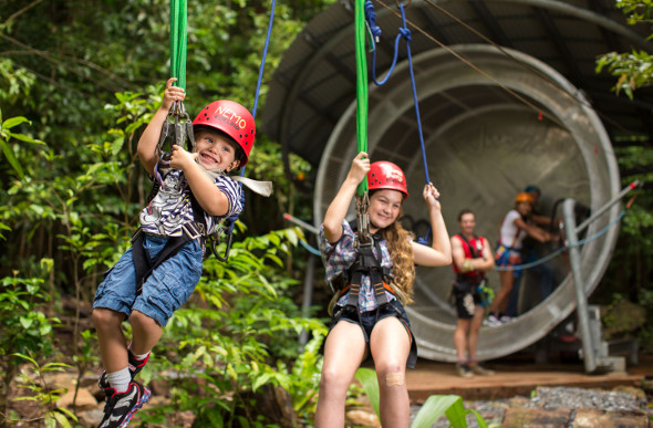 The human hamster wheel winches zip-liners into the Daintree Rainforest canopy.