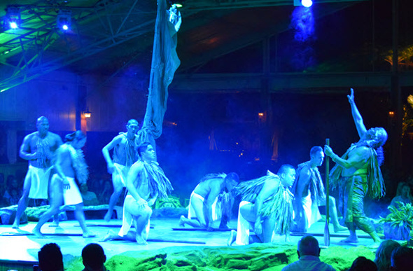 Performers enact Hawaiian legends at the Luau Kalamaku show at Kilohana Estate and Plantation on Kauai.