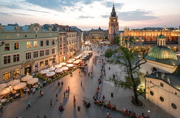 Krakow's historic centre is full of atmosphere.