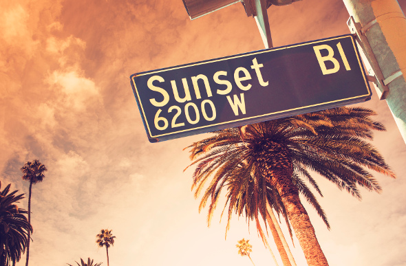 The Sunset Boulevard street sign in Los Angeles, with palm trees and sunset in the background.