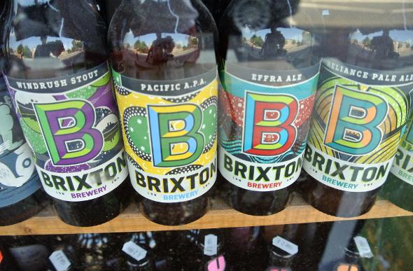 Brixton beer bottles in a shop window