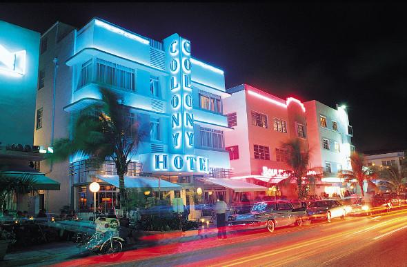 Nighttime view of Ocean Drive