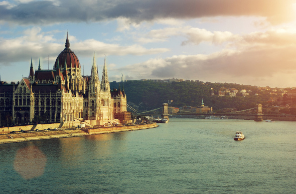 The Danube flows past the Hungarian Parliament Building in Budapest.