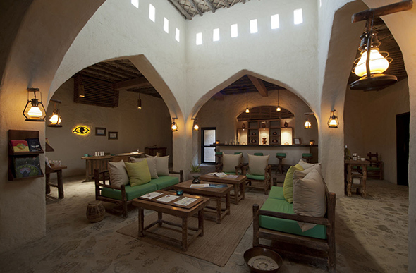 The spa reception area at the Six Senses Zighy Bay in Oman invites relaxation.