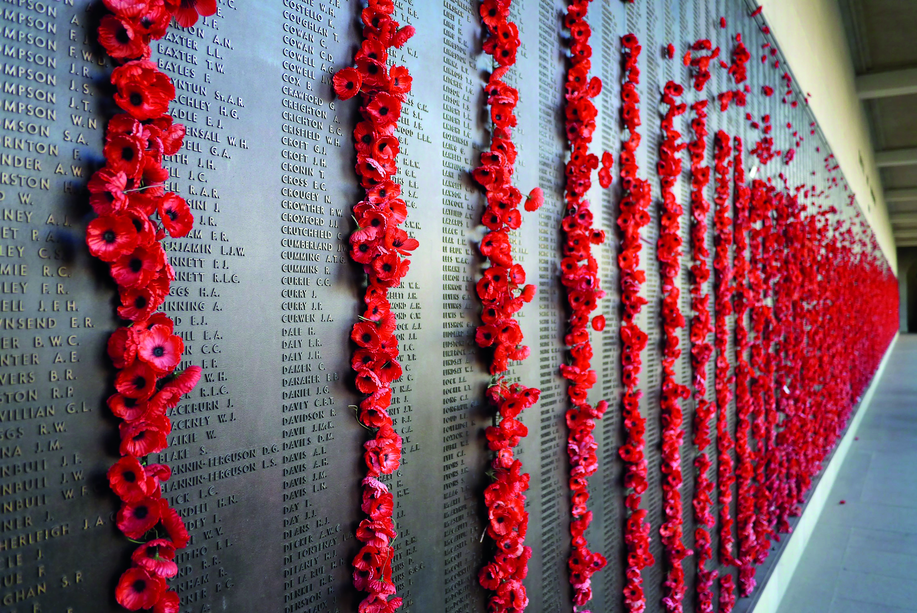 Poppies adorn the names of the fallen at the Australian War Memorial in Canberra.