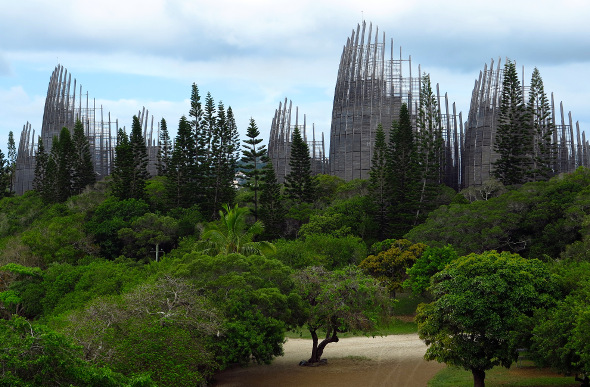 The spires of the Jean-Marie Tjibaou Cultural Centre rise above the tree tops in New Caledonia.