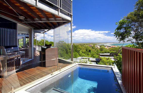 A two-storey villa with pool overlooking Noosa