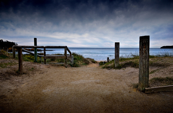 A sandy path leads to Broulee Beach in New South Wales.