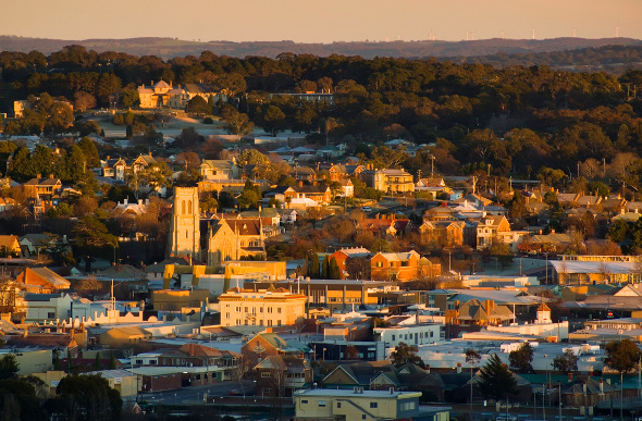 The New South Wales town of Goulburn glows golden at sunset.