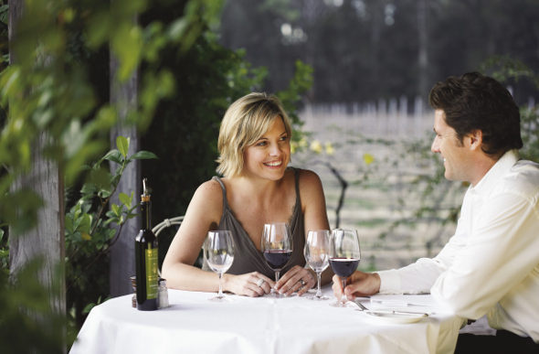 A man and woman dining at an winery in the Hunter Valley