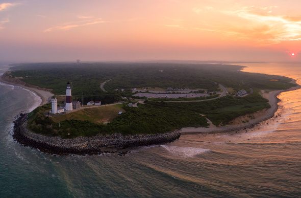 An aerial view of Montauk Point.