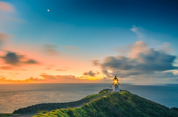 Twilight at Cape Reinga Lighthouse.