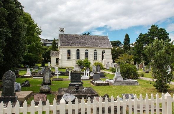 The cemetery at Christ Church  filled with prominent Maori chiefs and early British settlers.