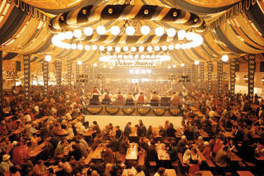 inside oktoberfest beer hall