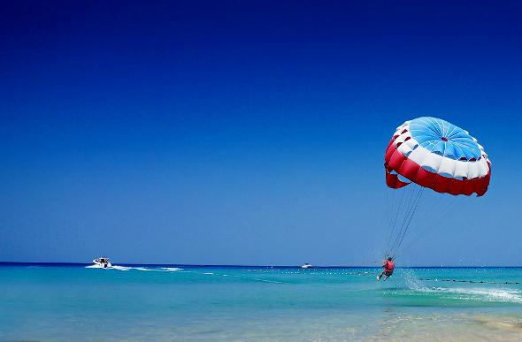 Parasailing off the shore of Patong Beach