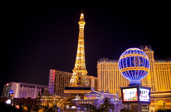 A night shot of the Eiffel Tower and Paris Hotel in Las Vegas