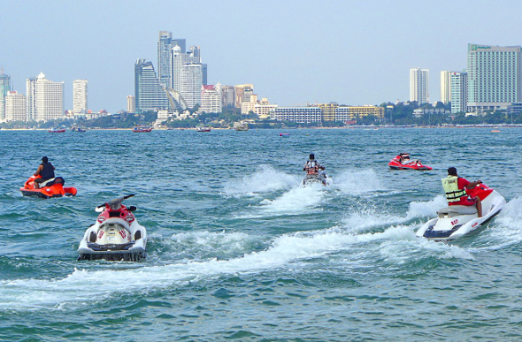 Jet skis on the water in Pattaya