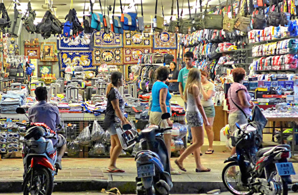 Shoppers in a street market stall in Pattaya