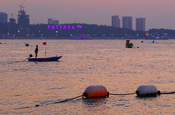 Sunset over the ocean at Pattaya