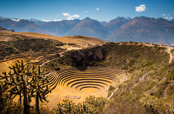 Terraced hillsides at Moray, an Incan agricultural site in the Sacred Valley of Peru.