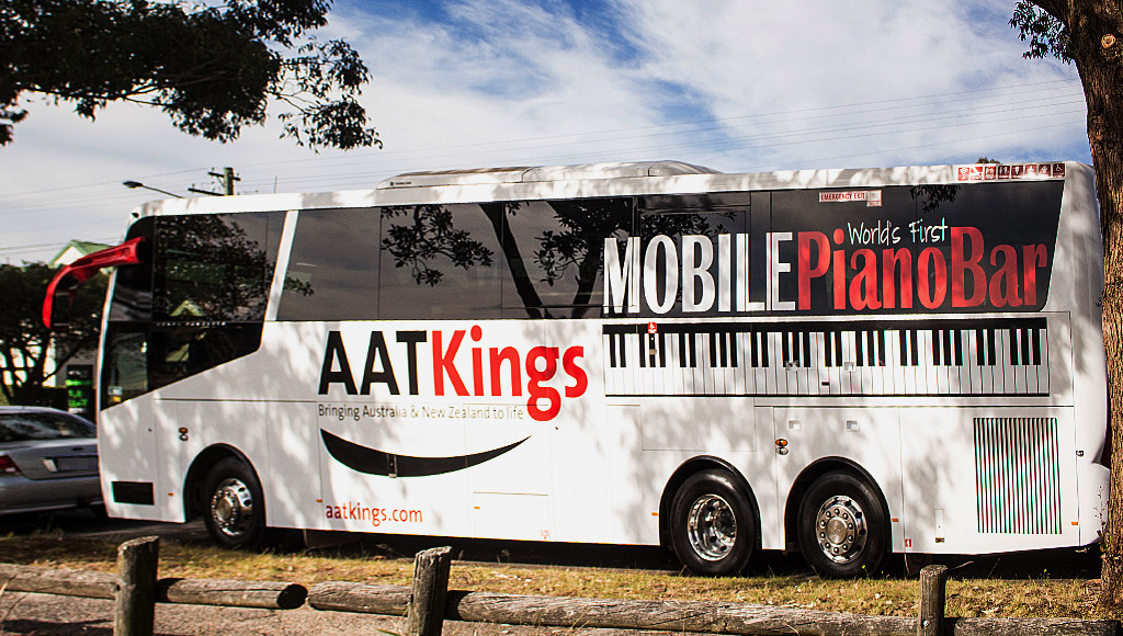 Outside of the AAT Kings Piano Bar Bus.