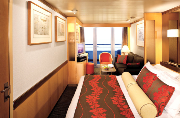 A balcony suite on board a P&O cruise ship.